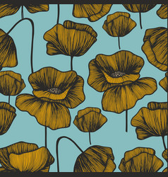 yellow poppies on a turquoise background seamless vector image