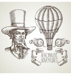 Aeronautic adventure vintage vector image vector image