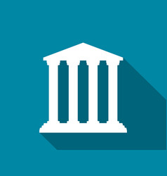 bank with a long shadow historical building flat vector image