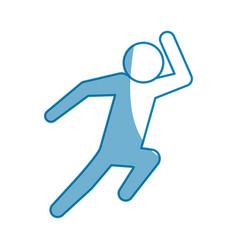Blue line pictogram man silhouette running concept vector