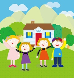 Children on the hill vector image vector image