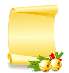 Christmas card - paper scroll wishlist with bells vector image vector image