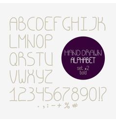 Decorative doodle alphabet Bold font vector image