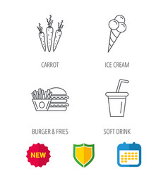 hamburger carrot and soft drink icons vector image