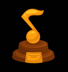 music award prize golden musical note flat vector image vector image