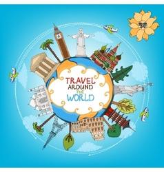 travel landmarks monuments around world vector image