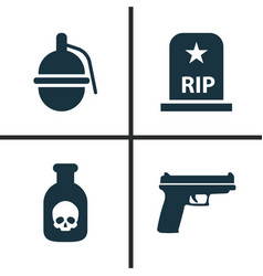 army icons set collection of rip weapons vector image vector image