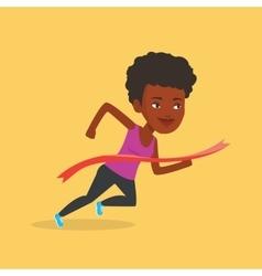 Athlete crossing finish line vector image