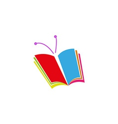 Book logo in the form of butterfly a symbol of vector image