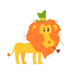 cute cartoon lion ih a green top hat african vector image