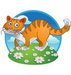Orange fun cat on color background vector image