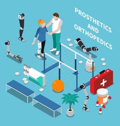 prosthetics and orthopedics isometric composition vector image vector image