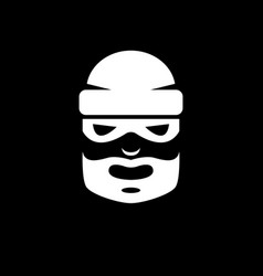 black and white picture of a bearded thief in a vector image