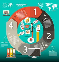 Infographics Template - Layout with World Map vector image vector image