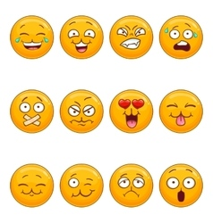 Set with cartoon smiley face vector image