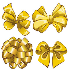 set with golden bows vector image vector image