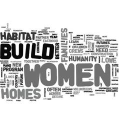 women crews build homes and dreams text word vector image