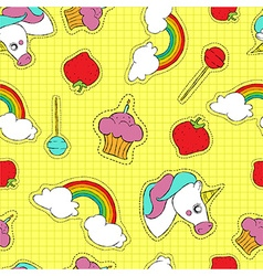 Cute hand drawn stitch patch icon seamless pattern vector image