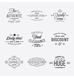 Retro typography discount and sale labels vector