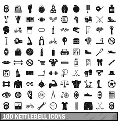 100 kettlebell icons set simple style vector