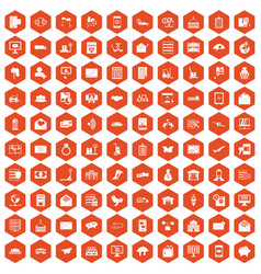 100 postal service icons hexagon orange vector