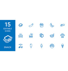 15 snack icons vector