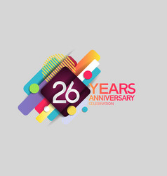 26 years anniversary colorful design with circle vector