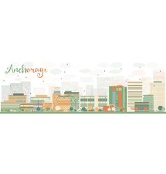 Abstract Anchorage Skyline with Color Buildings vector