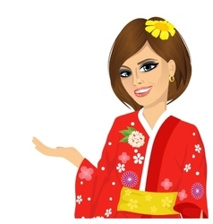 Attractive asian japanese woman in red kimono vector