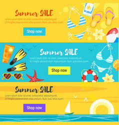 Banner template with colorful beach elements vector