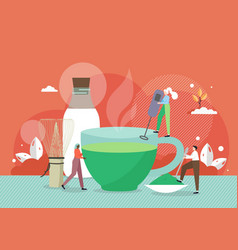 barista tiny male and female characters making vector image