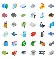Big city icons set isometric style vector