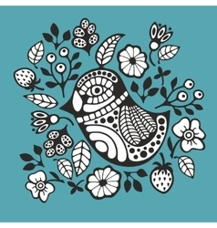 Black and white bird and flowers vector