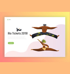 brazil dance carnival man woman landing page vector image