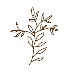 Brown silhouette of branch with leaves vector