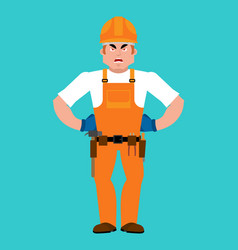builder angry worker in protective helmet evil vector image