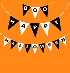 bunting flags pack boo happy halloween letters vector image