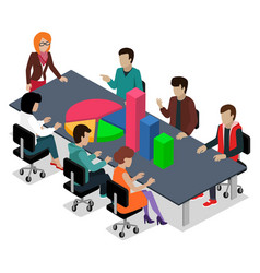 business conference workers boss data analysis vector image