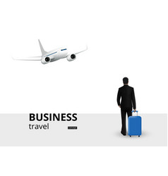 Businessman with trolley suitcase walking in plane vector