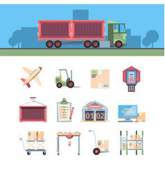 cargo delivery icon aircraft loader computer vector image