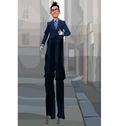 Cartoon male clown in black suit on stilts vector