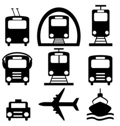 Collection city transportation pictograms vector
