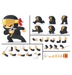 Customizable mascot black japanese ninja warrior vector