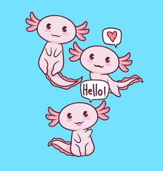 Cute axolotls vector