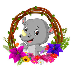 cute rhino in root of tree frame with flower vector image