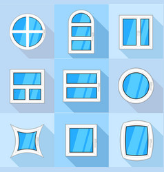 Different windows icons set flat style vector