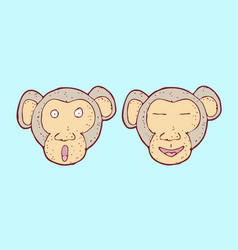digitally drawn monkey head design hand drawing vector image