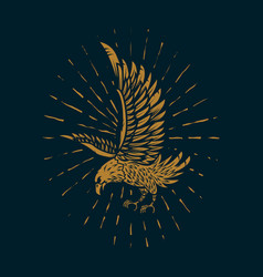 eagle in golden style on dark background design vector image