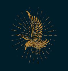 Eagle in golden style on dark background design vector