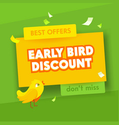 early bird advertising poster for sale promotion vector image
